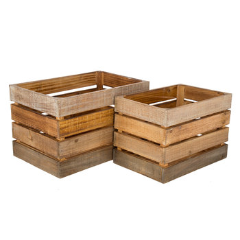 Wood Storage Crate Set